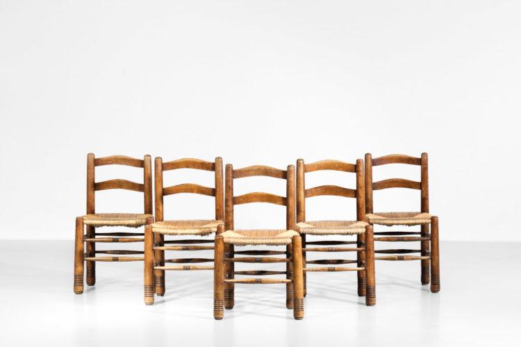 Suite de 5 chaises Charles Dodouyt design francais paillée1