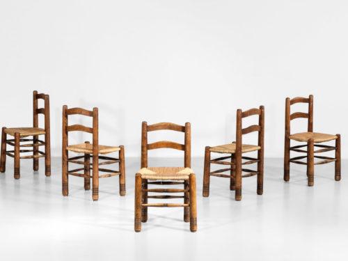 Suite de 5 chaises Charles Dodouyt design francais paillée3
