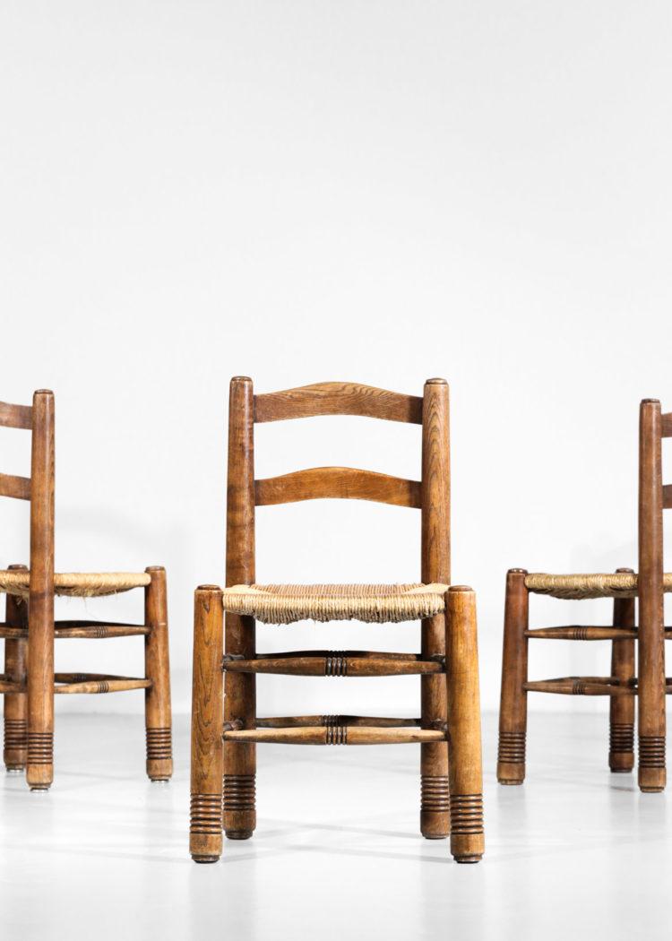 Suite de 5 chaises Charles Dodouyt design francais paillée