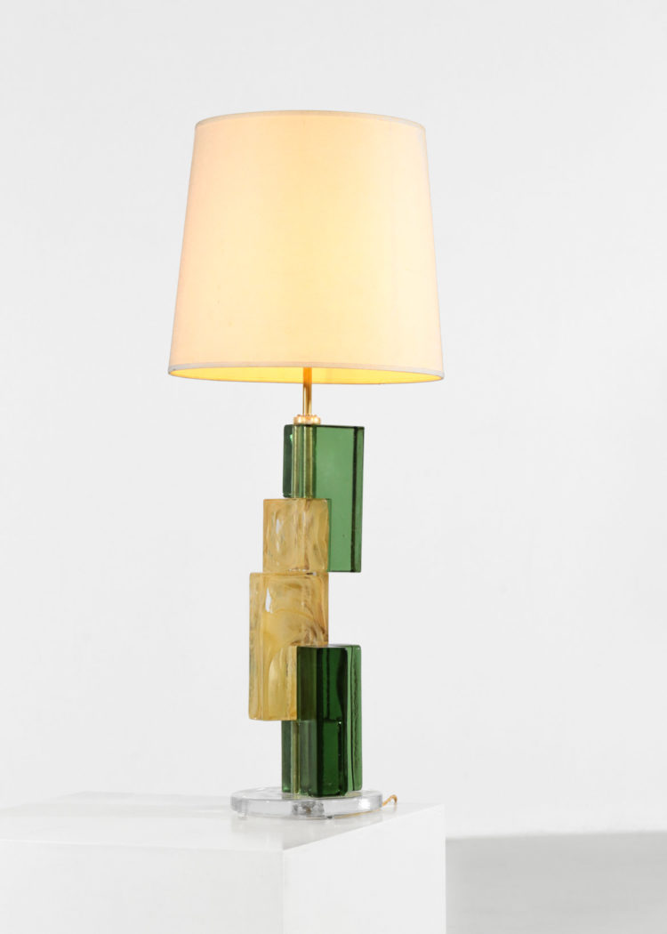 lampe de bureau en verre de murano cube