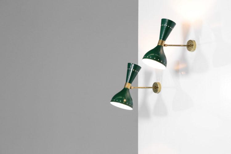 paire d'appliques italienne stilnovo verte vintage design