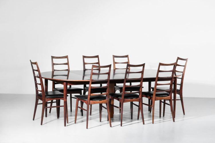Suite de 8 chaises Koefoed Larsen danoise scandinave vintage palissandre