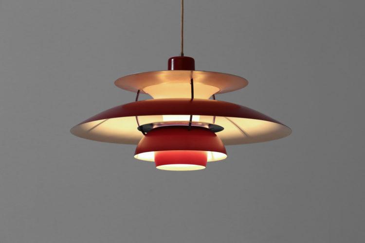 Suspension PH5 poul hennigsen vintage rouge Louis Poulsen danoise années 60