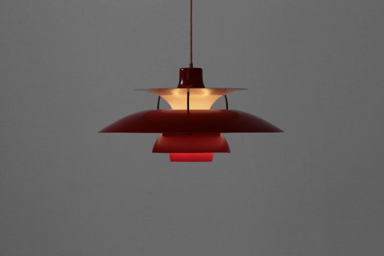 Suspension PH5 poul hennigsen vintage rouge Louis Poulsen danoise années 60 9