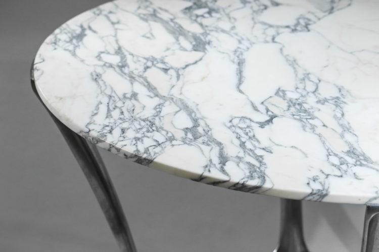 Table à manger par michel charron en marbre carrare vintage 122