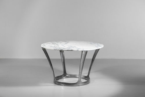 Table à manger par michel charron en marbre carrare vintage 127