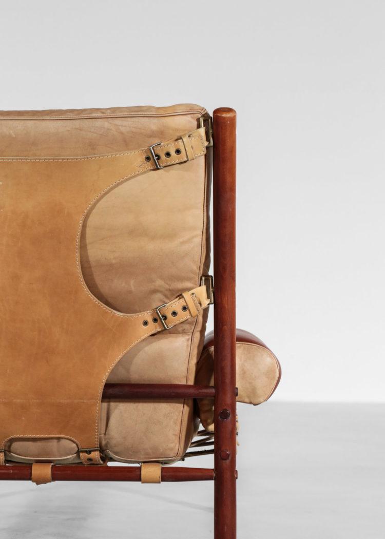 fauteuil safari arne norell années 60 cuir suedois