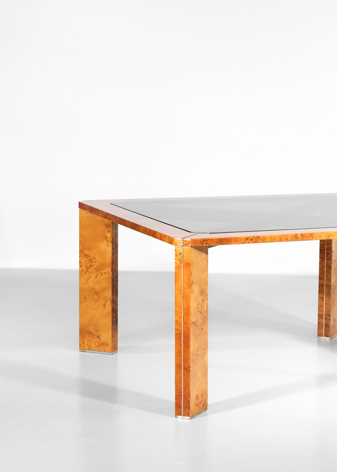 Italian Burlwood Dining Table Willy Rizzo Style 1970s Danke Galerie