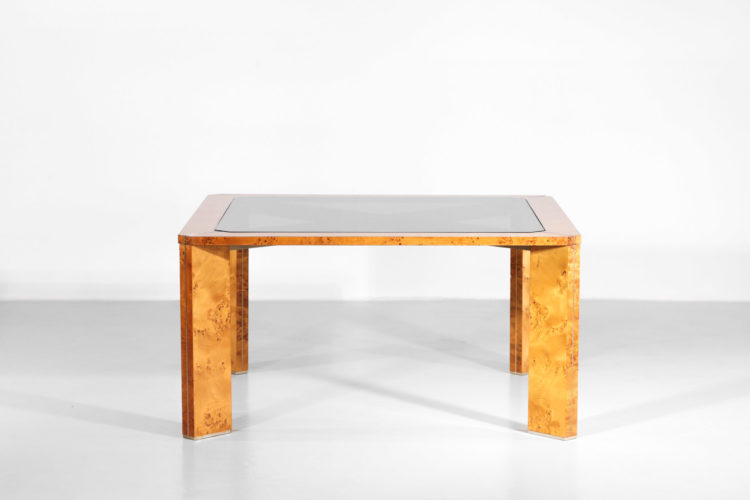 table à manger italienne bois de loupe willy rizzo années 70