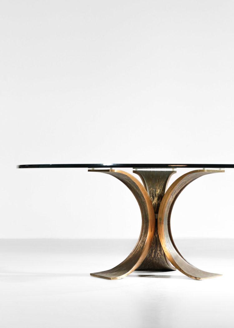 table basse bronze année 60 ronde en verre