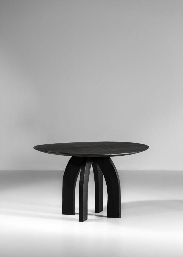 Table à manger vincent vincent danke galerie chaise ebeniste bois brulé6