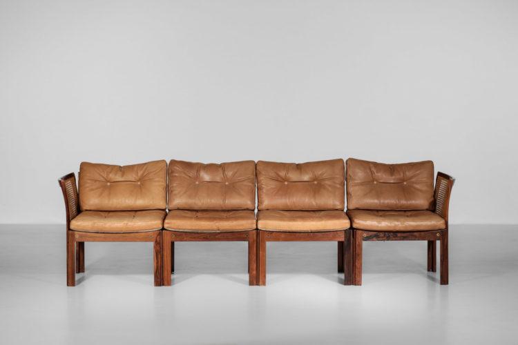 banquette illum wikkelso sofa danois scandinave palissandre de rio cuir