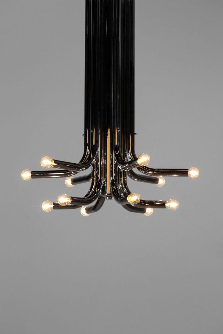 plafonnier italien tube chromé années 70 lustre suspension