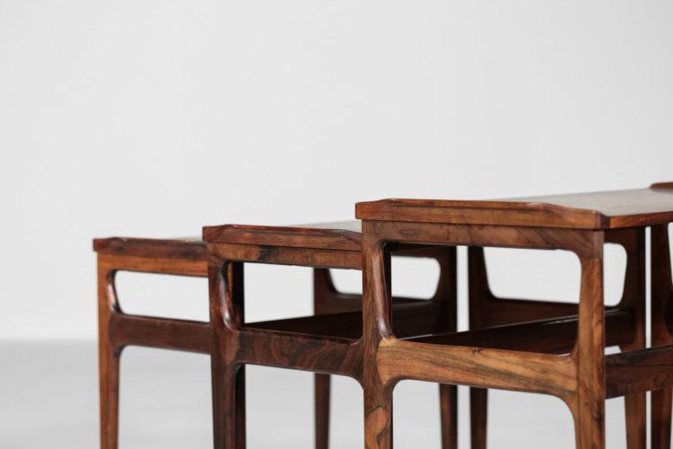 suite de trois tables gigones scandinave danoises palissandre de rio