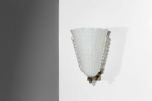 paire d'appliques moderne italienne verre de murano vintage laiton