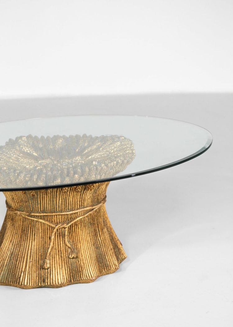 table basse années 60 epis de blé ceramique doré verre ovale 9