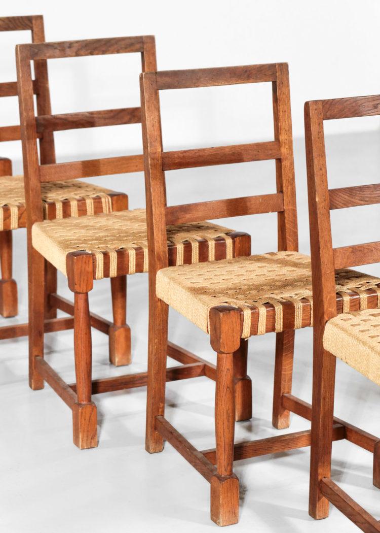 Suite de 6 chaises moderniste années 50 style jacques adnet jean royere chene 3