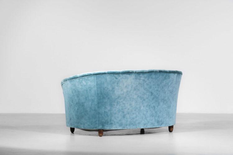 canapé gio ponti sofa banquette années 60 velour bleu