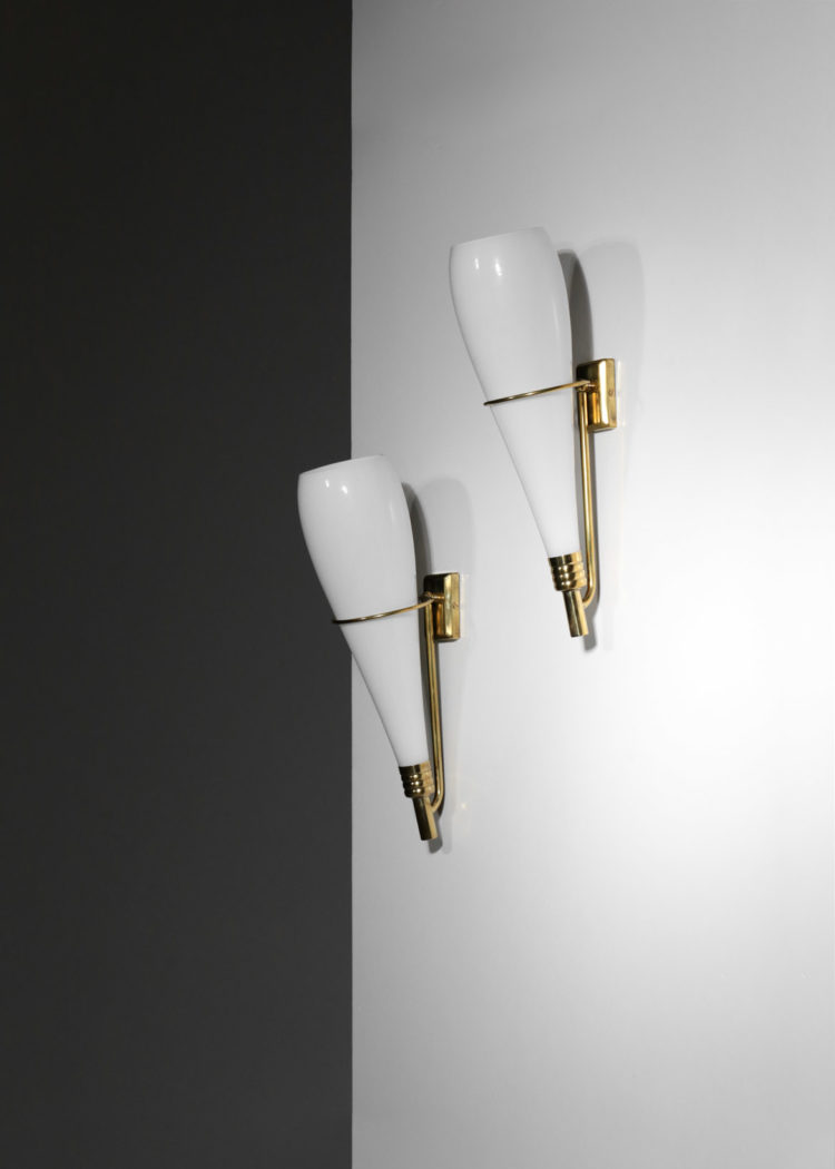 paire d'appliques moderne Flambeau stilnovo vintage angelo lelli arredoluce