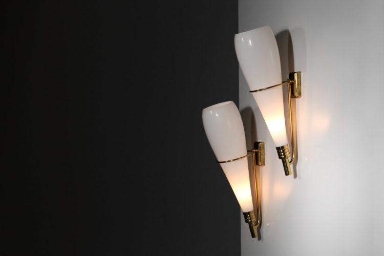 paire d'applique moderne bianca stilnovo vintage angelo lelli arredoluce12