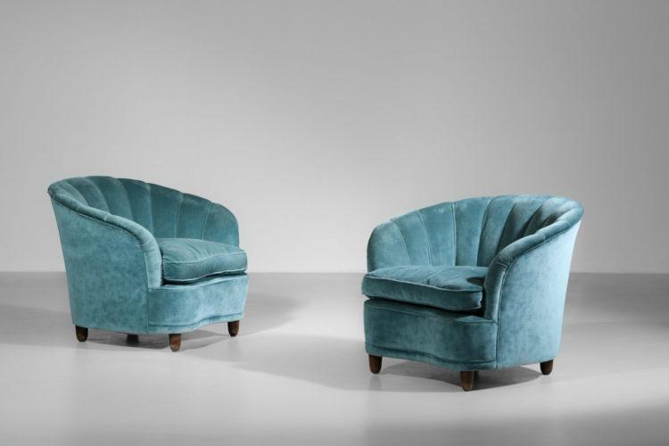 paire de fauteuils italien gio ponti vintage design années 60