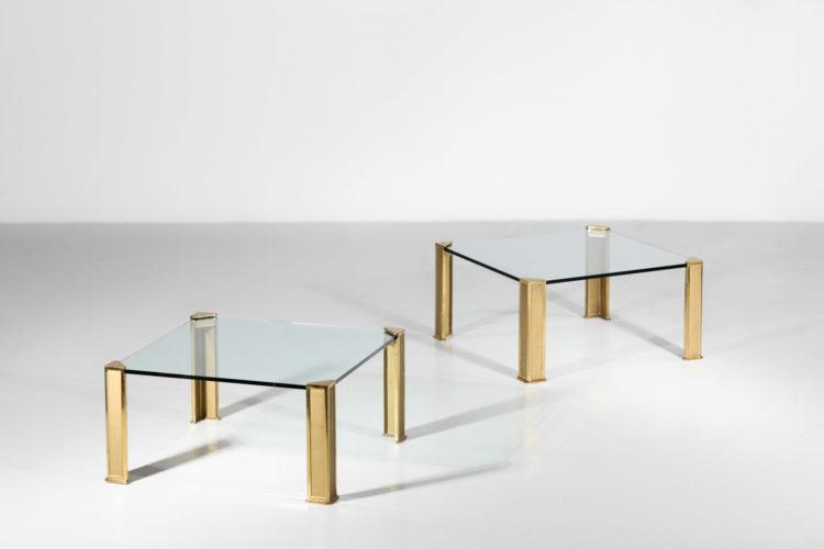 paire de table basse peter ghyczy bronze verre années 70 1