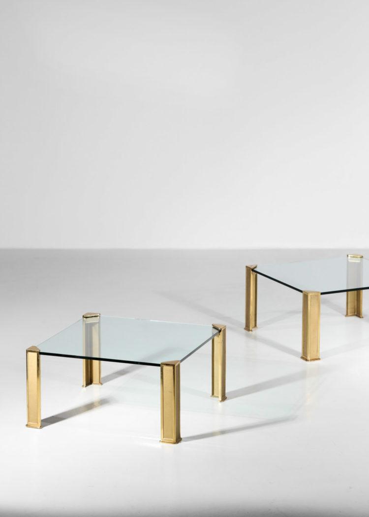 paire de table basse peter ghyczy bronze verre années 70 16