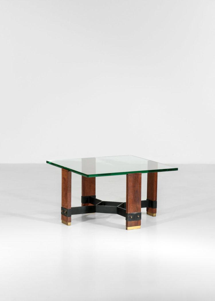 table basse italienne morderniste en verre années 50 bois metal5