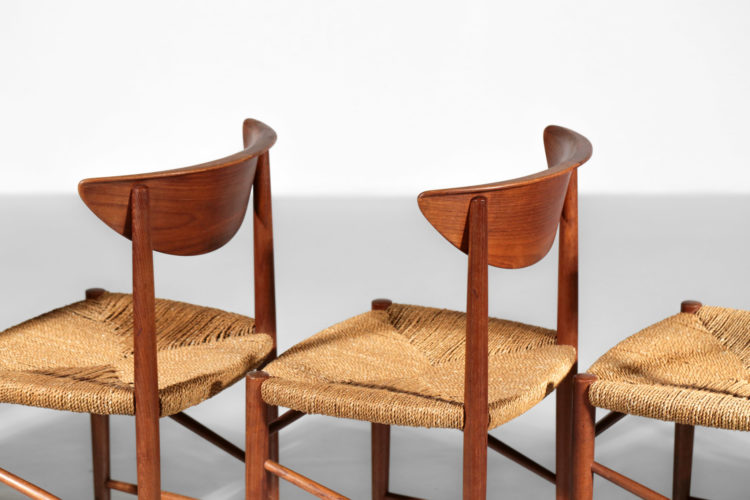 Suite de 6 chaises peter hvidt et orla molgaard danois scandinave modele 316