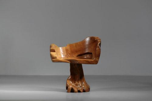 fauteuil souche chaise brutaliste naturel art1
