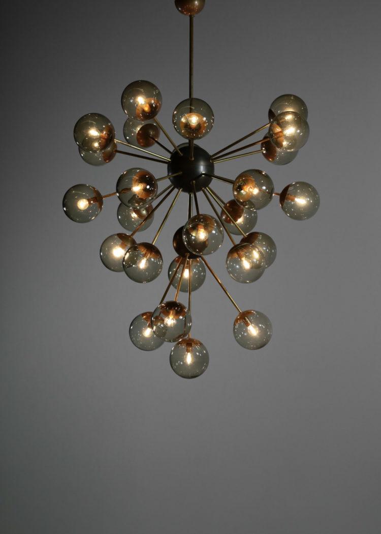 grand lustre italien galassia 25 globes verre fumé spootnik vintage moderne 11