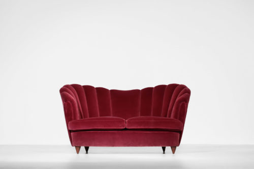 Banquette italienne style gio ponti sofa années 60 velour rouge bordeaux