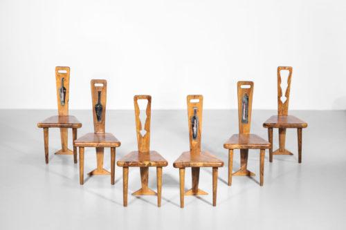 suite de 6 chaises artisanal en olivier massif et ceramique 4
