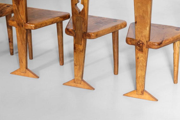 suite de 6 chaises artisanal en olivier massif et ceramique 5