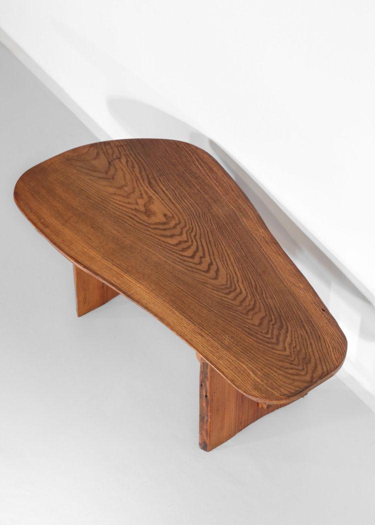 table basse rustique forme libre en pin massif