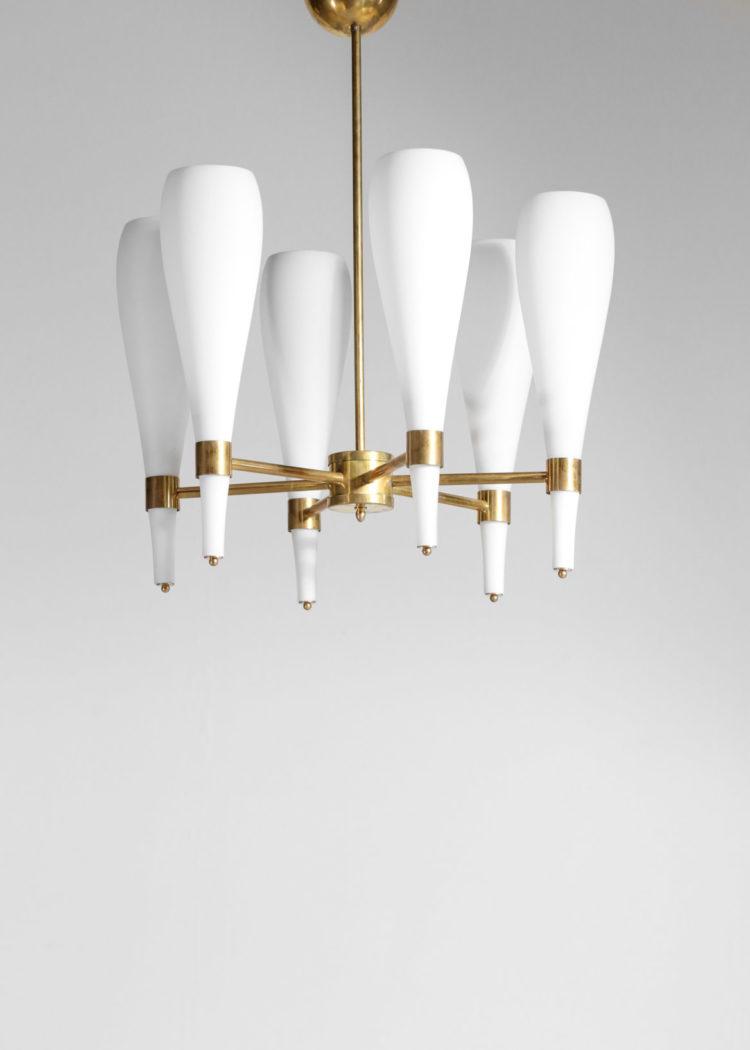 Lustre Italien moderne quilla 6 opaline et laiton design vintage 16