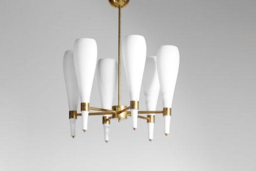 Lustre Italien moderne quilla 6 opaline et laiton design vintage 14