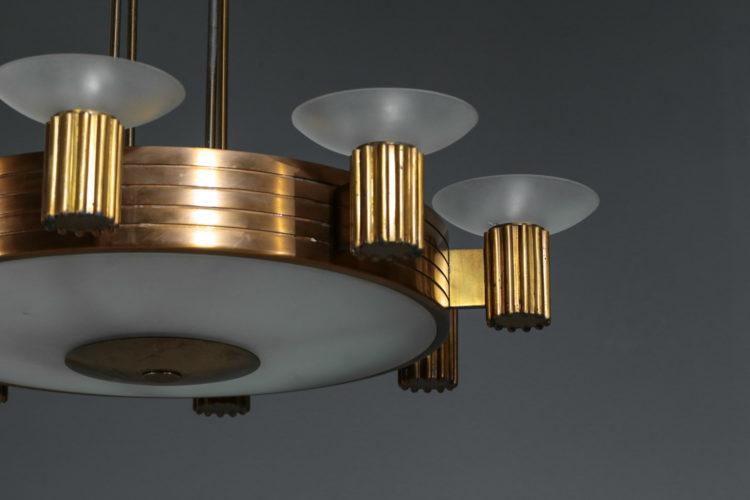 Lustre italien années 40 en bronze doré et verre depoli
