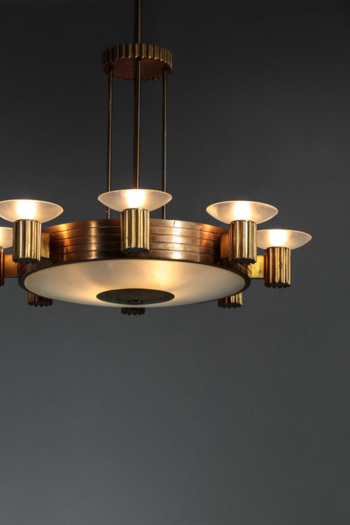 Lustre italien années 40 en bronze doré et verre depoli8