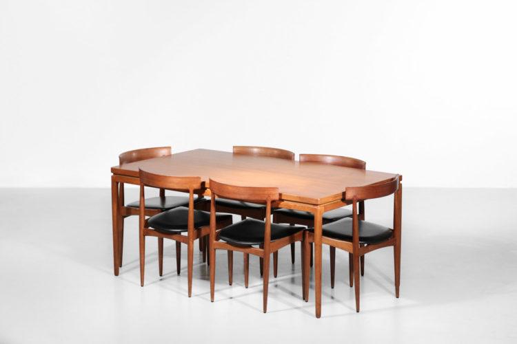 Table à manger danoise en teck Johannes Andersen Éditeur CHR Linneberg 1960 scandinave