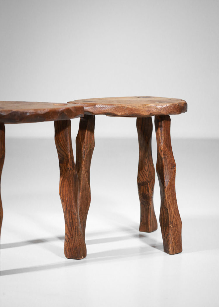tabouret francais années 50 en bois sculpté5