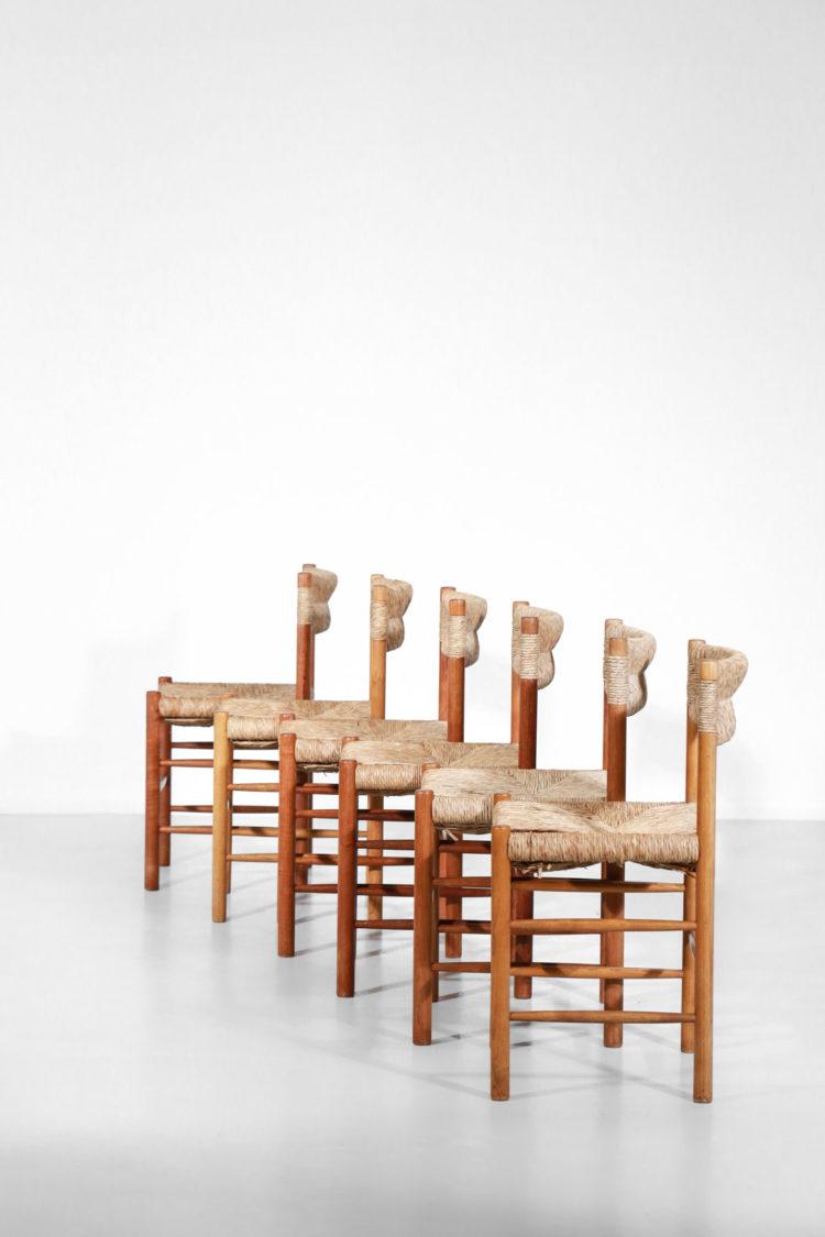 chaise paillées sentou années 60 charlotte perriand
