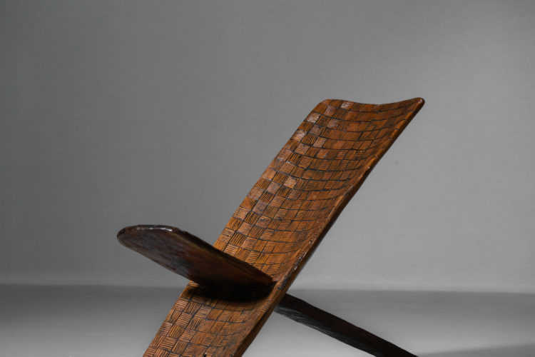 chaise pliable africaine en bois massif decor à damier17