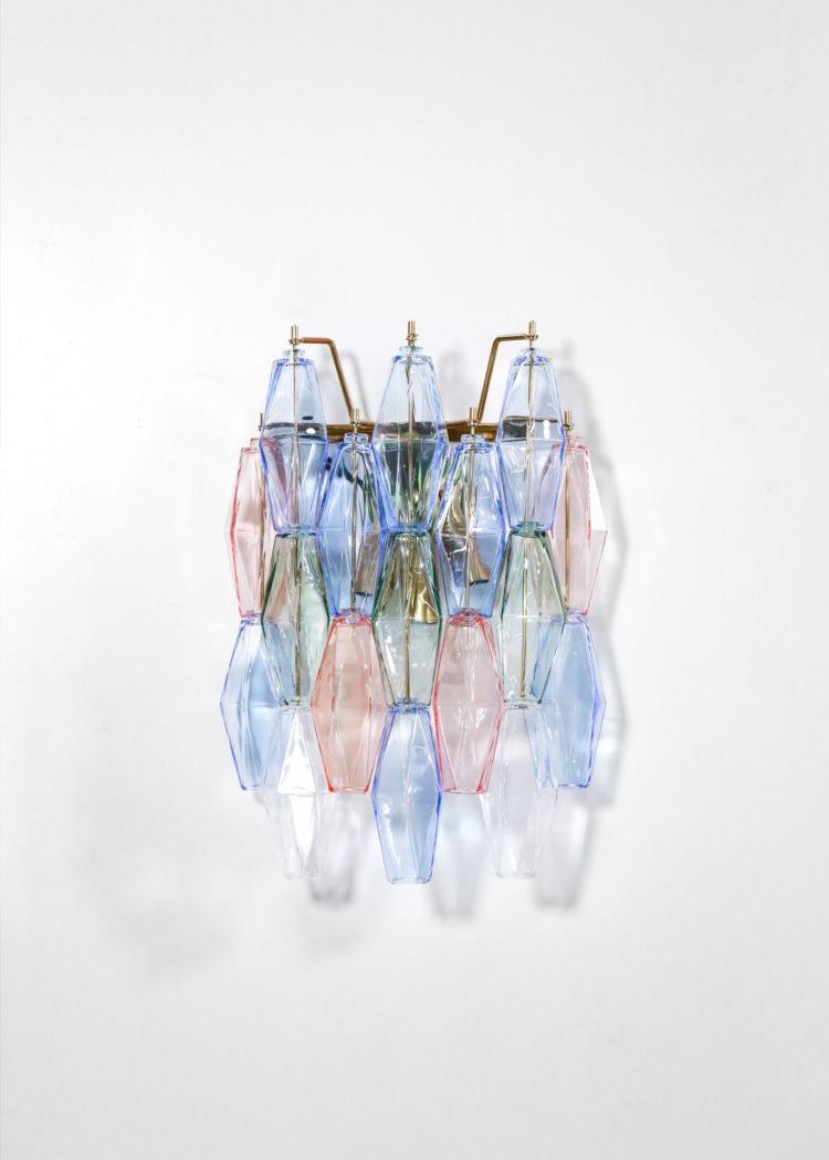 paire d'applique italienne polyedre multi couleur verre de venini