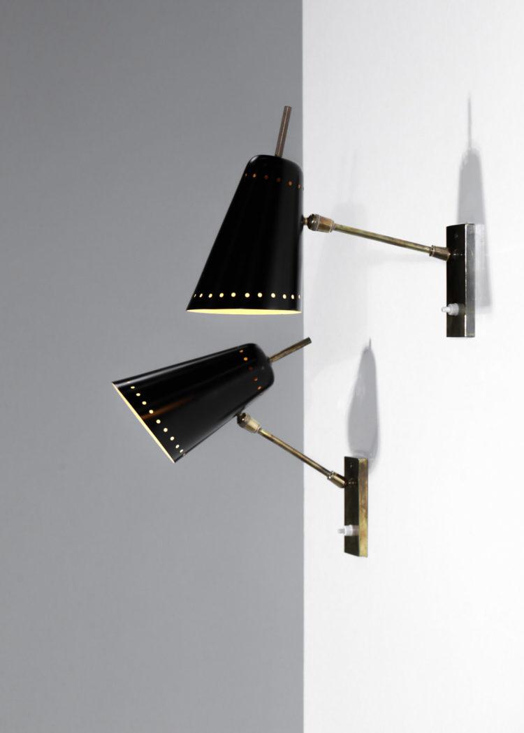 paire d'applique pierre guariche noire vintage design années 50