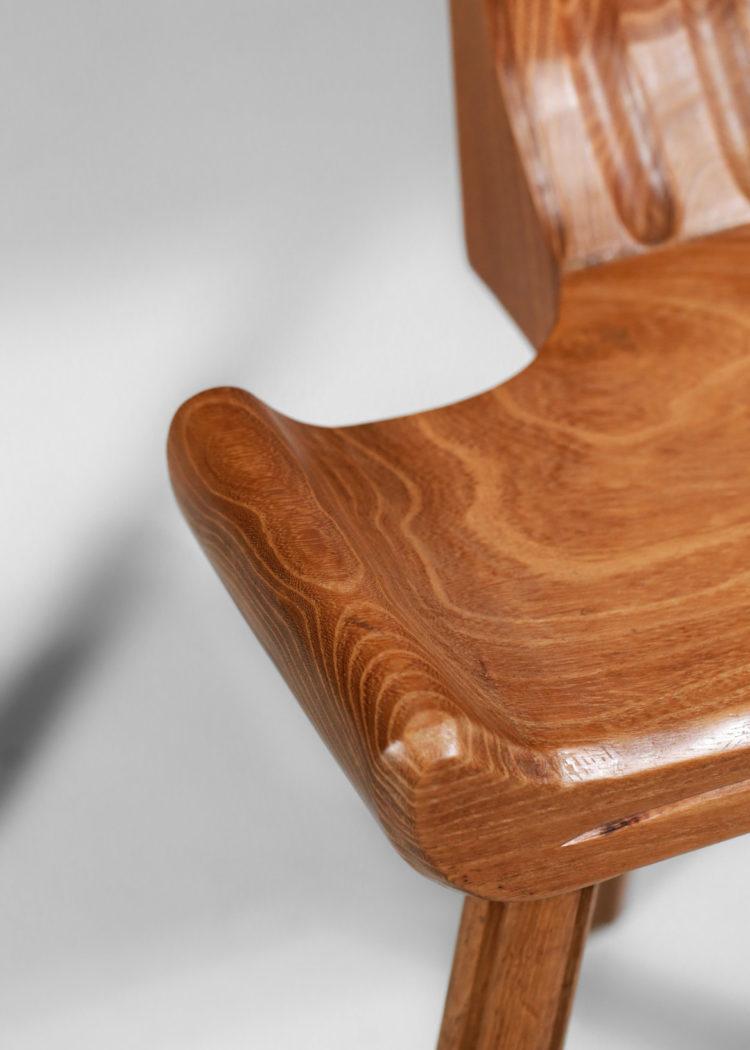 paire de chaises tripodes francaise des années 60 en chene massif 8