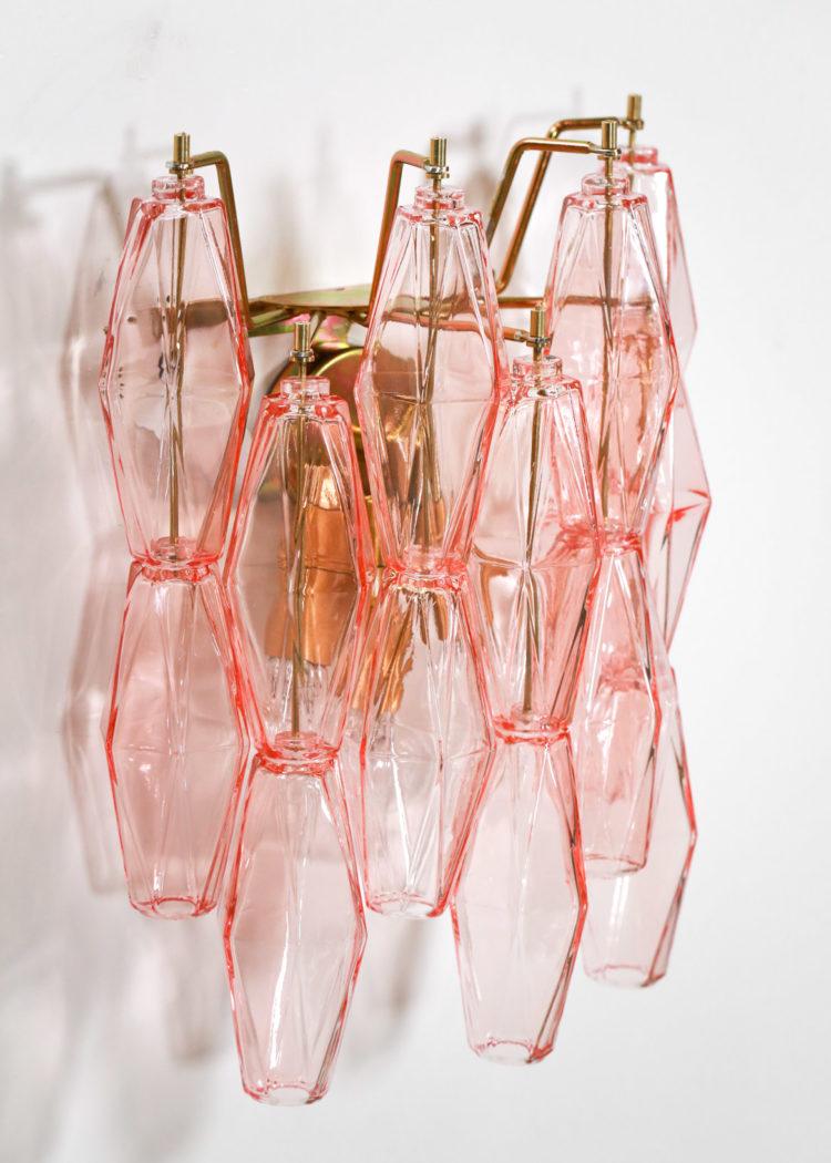 petite paire d'applique polyedre rose italienne venini 1