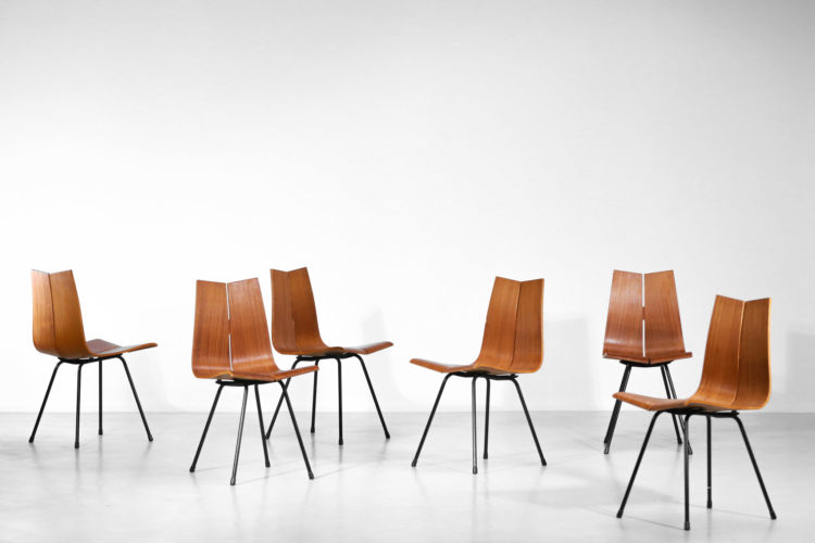 suite de 6 chaises hans bellmann suisse design années 60