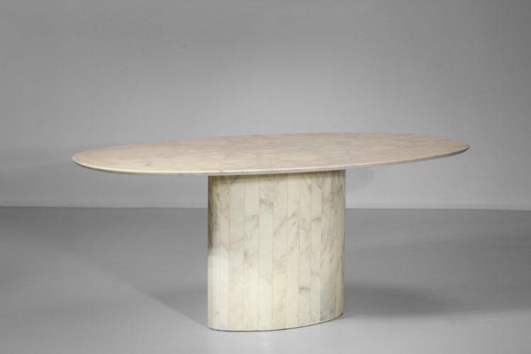 table à manger en marbre blanc de carrare ovale années 6032