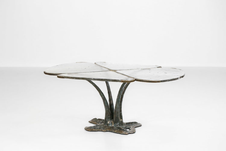 table basse lothar klute bronze design allemand verre 1